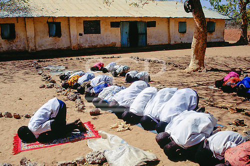 The Gambia, Africa. Muslim schoolchildren praying outside the school.