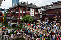 China, Shanghai.  Yuyuan Bazaar Visitors, Shoppers, and Tourists.