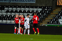 Monday 20 January 2014<br /> Pictured:Cardiff's Rhys Healy  Celebrates with team mates<br /> Re: Swansea City U21 v Cardiff City U21 at the Liberty Stadium, Swansea Wales