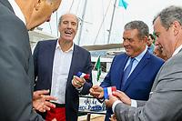 Marc PAJOT, Parrain du nouveau quai Catamarans, avec Eric CONTENCIN, Henri LEROY et Bernard BROCHAND lors de l'inauguration de celui-ci pendant le Salon du Bateau - Les Nouvelles Vagues du Nautisme - au Port de la Napoule à Mandelieu, Sud de la France, vendredi 14 avril 2017. # INAUGURATION DU SALON DU BATEAU A MANDELIEU