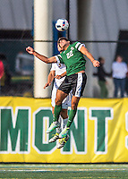 24 September 2016: Dartmouth College Big Green Defender/Midfielder Jonathan Nierenberg, a Junior from Sand Point, NY, battles University of Vermont Catamount Midfielder Charlie DeFeo, a Graduate from Newfields, NH, at Virtue Field in Burlington, Vermont. The teams played to an overtime 1-1 tie in front of an Alumni Weekend crowd of 1,710 fans. Mandatory Credit: Ed Wolfstein Photo *** RAW (NEF) Image File Available ***