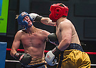 Feb. 18, 2015; Daniel Babiak connects with a hard jab to Chris Croushore (left) in the quarterfinals of the 85th Annual Bengal Bouts. (Photo by Barbara Johnston/University of Notre Dame)