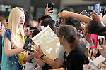 """Elle Fanning, Jun 21, 2014 : Tokyo, Japan : The actress Elle Fanning greets her fans at Narita International Airport in Chiba Prefecture, Japan, on June 21, 2014. Fanning comes to Japan for the first time to attend the Japan Premier of the movie """"Maleficent"""", which will be released on July 5th. (Photo by Rodrigo Reyes Marin/AFLO)"""