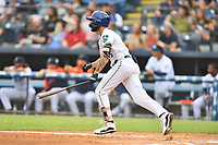 Asheville Tourists Joe Perez (8) swings at a pitch during a game against the Bowling Green Hot Rods on May 28, 2021 at McCormick Field in Asheville, NC. (Tony Farlow/Four Seam Images)