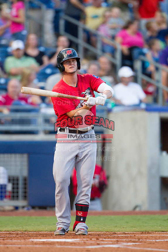 Frisco RoughRiders first baseman Trever Adams (18) at bat during the Texas League game against the Tulsa Drillersat ONEOK field on August 15, 2014 in Tulsa, Oklahoma  The RoughRiders defeated the Drillers 8-2.  (William Purnell/Four Seam Images)
