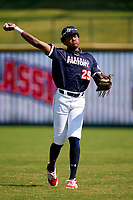 Outfielder James Wood (29) warms up during the Baseball Factory All-Star Classic at Dr. Pepper Ballpark on October 4, 2020 in Frisco, Texas.  James Wood (29), a resident of Olney, Maryland, attends IMG Academy.  (Ken Murphy/Four Seam Images)