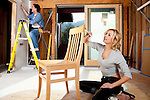 USA, California, Fairfax, Mid adult couple doing home improvement work together