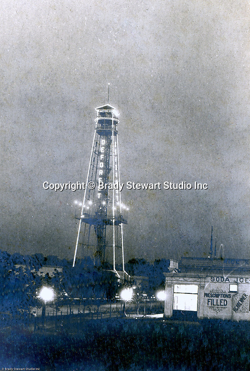 Client: St Louis World's Fair<br /> Product: Telegraph Tower<br /> Manufacturer: De Forest Wireless Telegraph Company<br /> <br /> St Louis Mo:  View of the DeForest Wireless Telegraph Tower at night at the Louisiana Purchase Exposition.