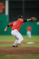 Batavia Muckdogs relief pitcher Dylan Cyphert (46) delivers a pitch during a game against the Williamsport Crosscutters on June 21, 2018 at Dwyer Stadium in Batavia, New York.  Batavia defeated Williamsport 6-5.  (Mike Janes/Four Seam Images)