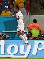 Bryan Ruiz of Costa Rica celebrates scoring his goal to make the score 1-0