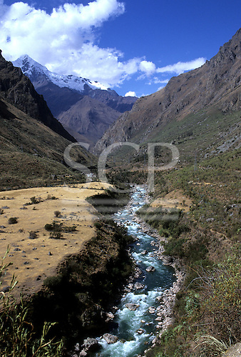 Machu Picchu, Peru. Inca trail passing through the valley of the Lluluchayoc River.