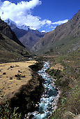 Machu Picchu, Peru. Inca trail passing through the valley of the Lluluchayoc River.