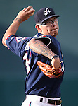 Reno Aces' Anthony Banda pitches against the Oklahoma City Dodgers at Greater Nevada Field in Reno, Nev., on Sunday, July 17, 2016.<br />