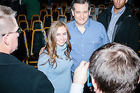 Cruz supporter (name withheld), of Amherst, NH, poses for a picture with Texas senator and Republican presidential candidate Ted Cruz after he spoke at a town hall at The Alpine Grove banquet center in Hollis, New Hampshire.