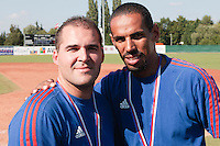 22 August 2010: Vincent Ferreira poses next to Christophe Elise at the 2010 European Championship, under 21, in Brno, Czech Republic.