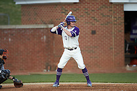 AJ Holcomb (13) of the High Point Panthers at bat against the Campbell Camels at Williard Stadium on March 16, 2019 in  Winston-Salem, North Carolina. The Camels defeated the Panthers 13-8. (Brian Westerholt/Four Seam Images)