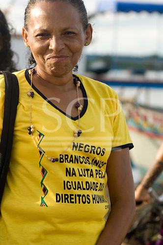 "Altamira, Brazil. ""Xingu Vivo Para Sempre"" protest meeting about the proposed Belo Monte hydroeletric dam and other dams on the Xingu river and its tributaries. Black movement t-shirt."