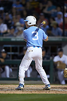 Kyle Datres (3) of the North Carolina Tar Heels at bat against the South Carolina Gamecocks at BB&T BallPark on April 3, 2018 in Charlotte, North Carolina. The Tar Heels defeated the Gamecocks 11-3. (Brian Westerholt/Four Seam Images)
