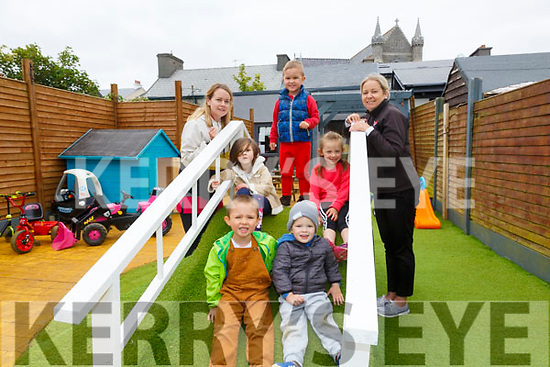 Puffins Childcare in Cahersiveen reopened their doors on Monday pictured here front l-r; Brian Reardon, Frankie Delve, back l-r; Sharon Moran, Cerys Holbrook, Dominiqus Seikus, Eva Garvey & Ashleigh Sheehan(Owner Manager).