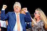 August 07, 2021: Trainer Steve Asmussen and his family celebrate at Saratoga Race Course in Saratoga Springs, N.Y. as horse # and jockey win x race giving him win #9,446 making Steve Asmussen the all-time leading trainer by wins on August 7, 2021. Dan Heary/Eclipse Sportswire/CSM