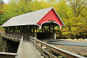 The beautifully kept and oft photographed Flume Covered Bridge, spanning the Pemigewasset River.