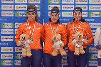SPEEDSKATING: 23-11-2019 Tomaszów Mazowiecki (POL), ISU World Cup Arena Lodowa, Podium Team Pursuit Ladies (NED), Antoinette de Jong, Ireen Wüst, Melissa Wijfje, ©photo Martin de Jong