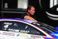 Jun. 19, 2011; Bristol, TN, USA: NHRA pro stock driver Shane Gray during eliminations at the Thunder Valley Nationals at Bristol Dragway. Mandatory Credit: Mark J. Rebilas-