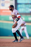 Rochester Red Wings first baseman Kennys Vargas (30) during a game against the Lehigh Valley IronPigs on June 29, 2018 at Frontier Field in Rochester, New York.  Lehigh Valley defeated Rochester 2-1.  (Mike Janes/Four Seam Images)