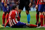 Jose Maria Gimenez of Atletico de Madrid injured during the UEFA Europa League match between Atletico de Madrid and Bayer 04 Leverkusen at Wanda Metropolitano Stadium in Madrid, Spain. October 22, 2019. (ALTERPHOTOS/A. Perez Meca)
