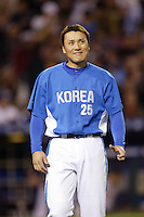 Seung-Yeop Lee of Korea during the World Baseball Championships at Angel Stadium in Anaheim,California on March 15, 2006. Photo by Larry Goren/Four Seam Images