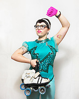 Coco Agogo, of the roller derby team, the Boston Derby Dames. Roller derby is an American contact sport, popular with young women, which combines both athleticism and a satirical punk third-wave feminism aesthetic.