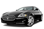 Low aggressive front three quarter view of a 2009 Maserati Quattroporte S Sedan.