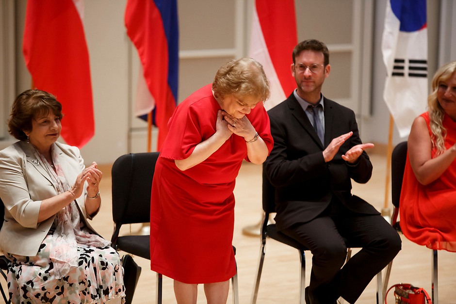 Jury Member Milda Agazarian of Russia stands for recognition during the opening ceremony of the 11th USA International Harp Competition at Indiana University in Bloomington, Indiana on Wednesday, July 3, 2019. (Photo by James Brosher)