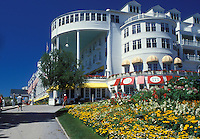 Grand Hotel, Mackinac Island, MI, Lake Huron, Michigan, Historic Grand Hotel on Mackinac Island.