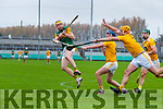 Brendan O'Leary, Kerry in action against Keelan Molloy, Stephen Rooney and Matthew Donnelly, Antrim during the Allianz Hurling League Division 2A Final match between Antrim and Kerry at Bord na Mona O'Connor Park in Tullamore, Offaly.