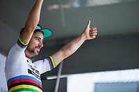 World Champion Peter Sagan (SVK/Bora Hansgrohe) is the final winner of the points classification. <br /> <br /> Binckbank Tour 2017 (UCI World Tour)<br /> Stage 7: Essen (BE) > Geraardsbergen (BE) 191km