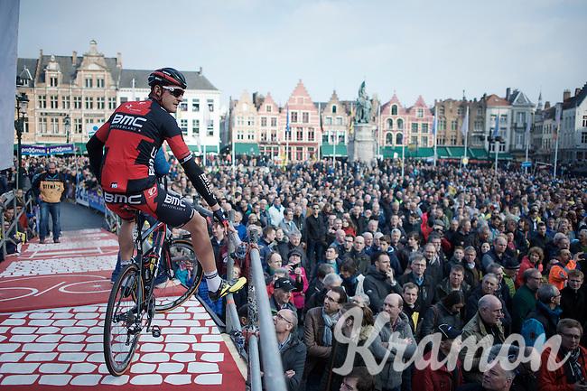 Marcus Burghardt (DEU/BMC) overlooks the crowd during the pre-race podium presentations on the Bruges Market Square<br /> <br /> 100th Ronde van Vlaanderen 2016