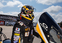 Aug 31, 2014; Clermont, IN, USA; NHRA top fuel dragster driver Tony Schumacher during qualifying for the US Nationals at Lucas Oil Raceway. Mandatory Credit: Mark J. Rebilas-USA TODAY Sports