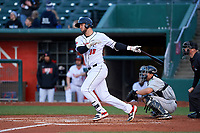 Lansing Lugnuts first baseman Jake Brodt (30) during a Midwest League game against the Wisconsin Timber Rattlers at Cooley Law School Stadium on May 1, 2019 in Lansing, Michigan. Wisconsin defeated Lansing 2-1 in the second game of a doubleheader. (Zachary Lucy/Four Seam Images)