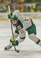 20 February 2016: University of Vermont Catamount Defenseman Dan Senkbeil, a Senior from Fremont, CA, prepares to take a face-off during the second period against the Boston College Eagles at Gutterson Fieldhouse in Burlington, Vermont. The Eagles defeated the Catamounts 4-1 in the second game of their weekend series. Mandatory Credit: Ed Wolfstein Photo *** RAW (NEF) Image File Available ***