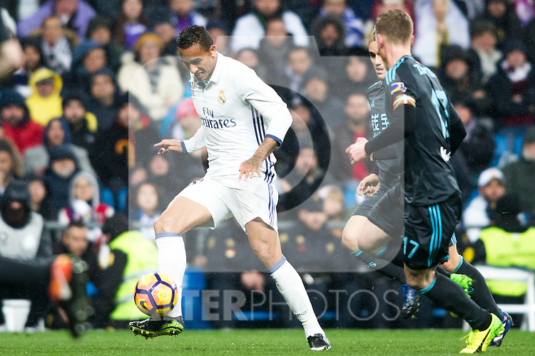 Real Madrid's midfielder Danilo Luiz da Silva during the match of La Liga between Real Madrid and   Real Sociedad at Santiago Bernabeu Stadium in Madrid, Spain. January 29th 2017. (ALTERPHOTOS/Rodrigo Jimenez)