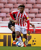 31st October 2020; Bet365 Stadium, Stoke, Staffordshire, England; English Football League Championship Football, Stoke City versus Rotherham United; Tyrese Campbell of Stoke City under pressure
