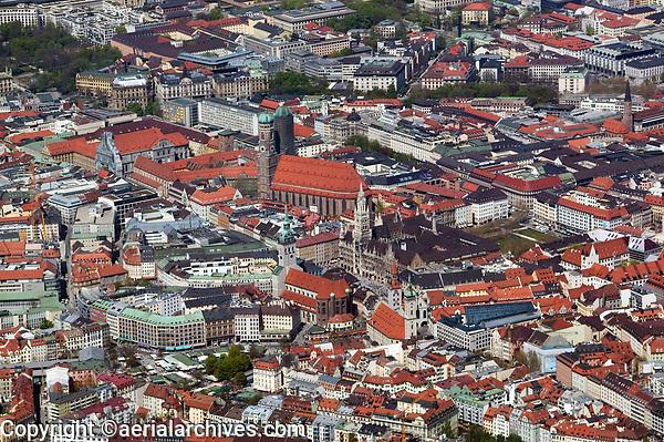 aerial photograph of the central historic district of Munich, Germany |including the Frauenkirche church and City Hall | Luftaufnahme der zentralen Altstadt von München, Deutschland, mit der Frauenkirche und des Rathauses