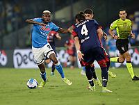 26th September 2021; Maradona Stadium, Naples, Italy; Serie A football, Napoli versus Cagliari :  Victor Osimhen of Napoli takes on Martín Cáceres