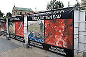 "Anti-abortion posters displayed outside a Catholic church in a central square in the Polish city of Lublin. The first poster reads: ""Ethnic cleansing in former Yugoslavia, abortion at 8 months: same result"""