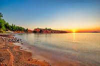 The sunrise at the beach Kokkinokastro of Alonissos island, Greece