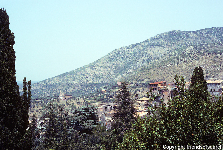 Tivoli: Villa D'Este. Panoramic view of parched mountainside. Photo '83.