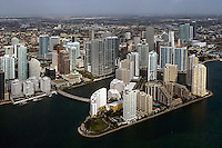 aerial photograph Brickell Key downtown Miami Florida