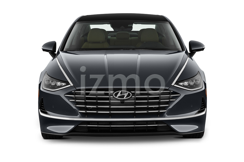 Car photography straight front view of a 2020 Hyundai Sonata-Hybrid Limited 4 Door Sedan Front View