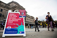 NEW YORK, NY - OCTOBER 24: View of the voting information signs at the Brooklyn Museum during early voting for the United States Presidential Election on October 24, 2020 in New York City. Due to concerns about the coronavirus and social distancing, New York State is allowing early voting for the first time to protect voters from new infections in the city (Photo by Pablo Monsalve / VIEWpress via Getty Images)